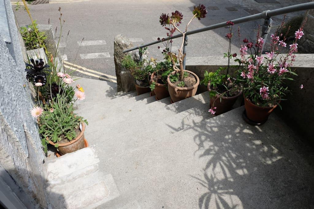 steps from the front door