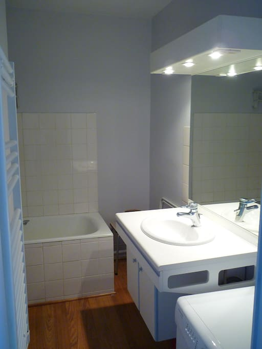salle de bain et lave linge (3kg) à cote du lavabo