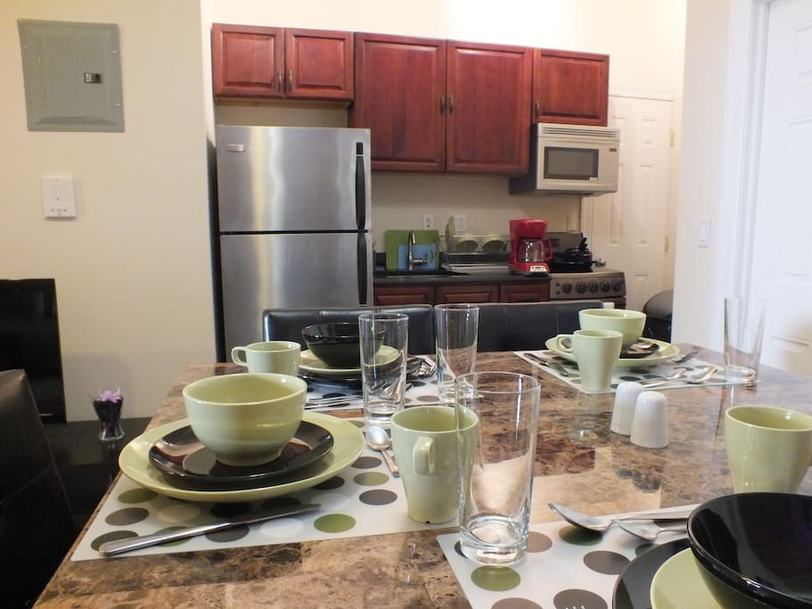 Dining Table and Kitchen with all new appliances