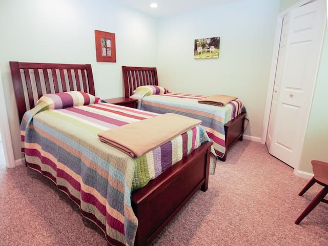 2 Twin beds & walk in closet with shelves