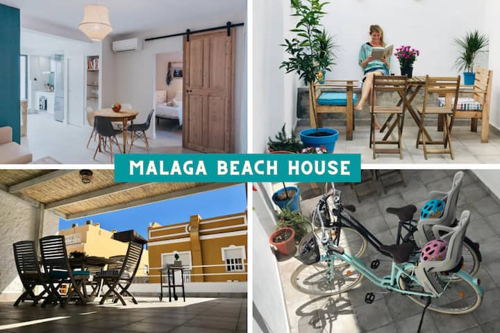 Family Malaga Beachhouse, 2 bikes+WiFi+BIGterrace