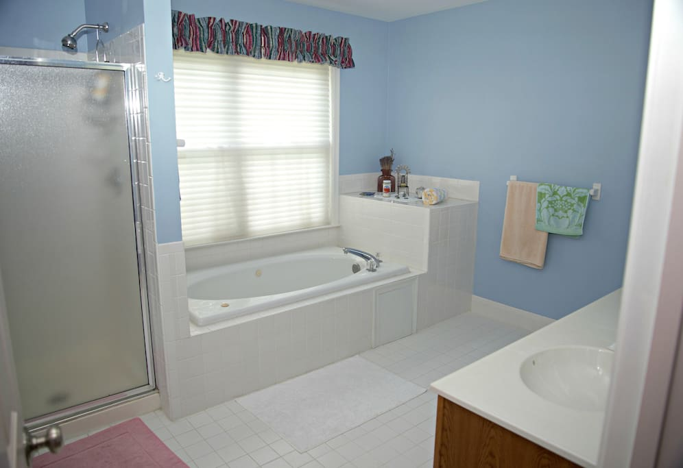 Private bathroom, Jacuzzi, shower. Super clean!