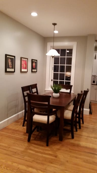 Gorgeous Dining Room with 6-chairs. We also have 3 folding chairs in closet for extra guests!