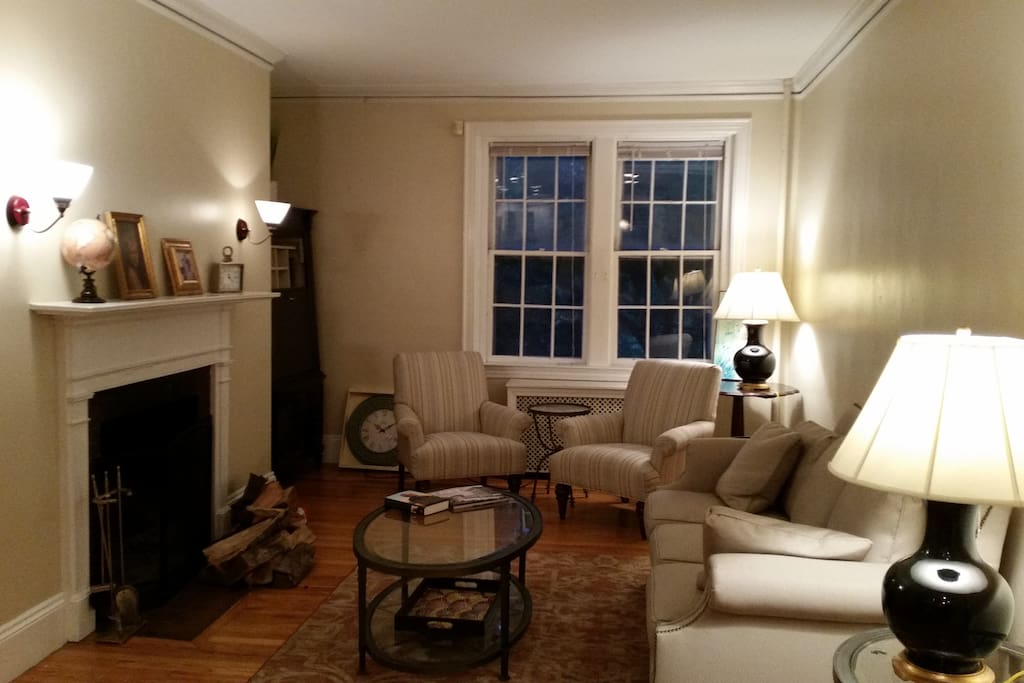 Living area with Central Fireplace. Windows face the Charles River!