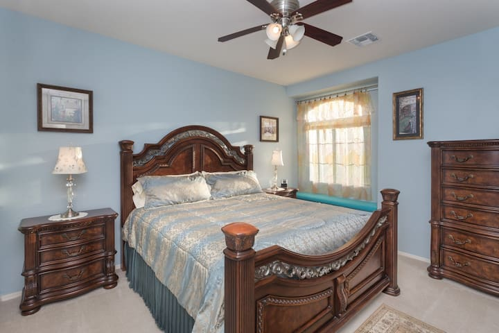Larger view of the second King size bedroom with memory foam mattress