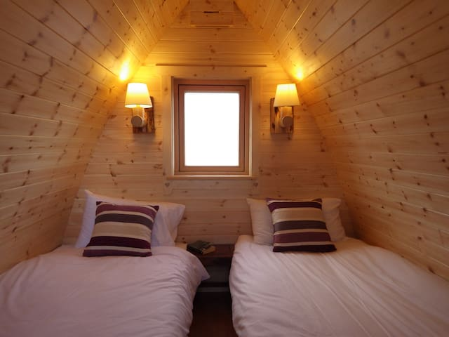 Cosy sleeping area. Beds can be joined for double.