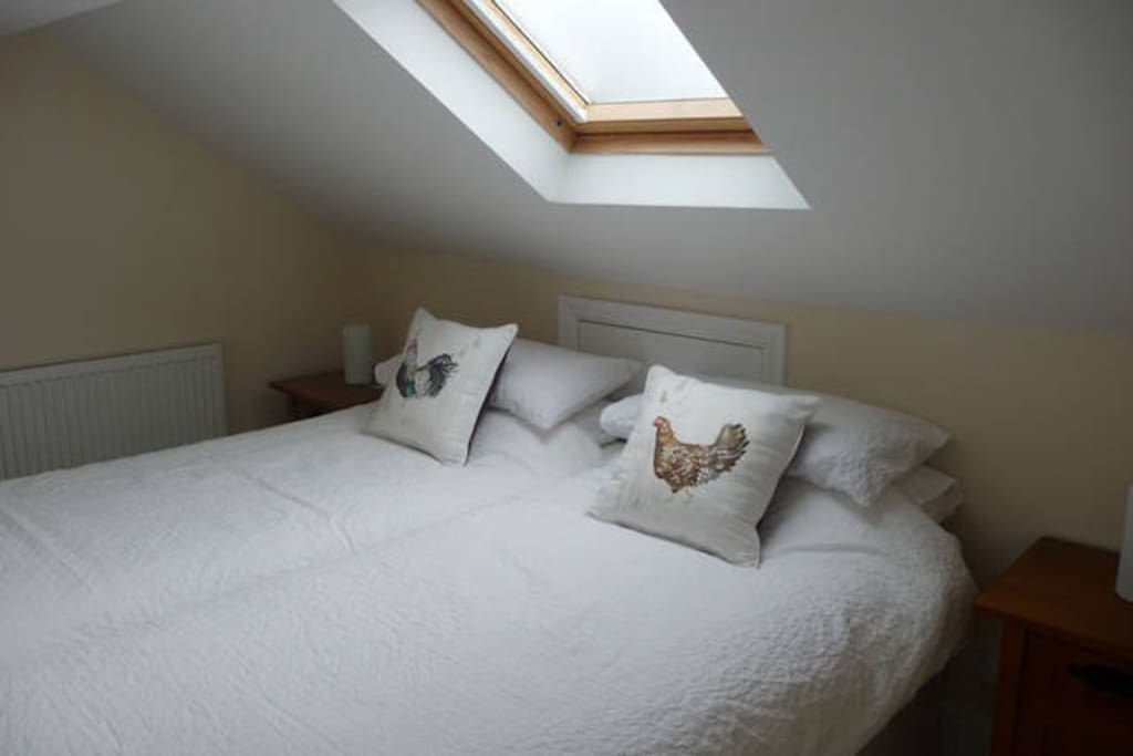 Upstairs sleeping area within the studio. The bed can be put together for a double or seperate as a twin.