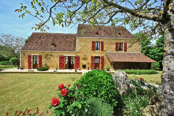 Charming House Sarlat/rocamad.Aic Cond.Heated pool - Saint julien de lampon  - Casa