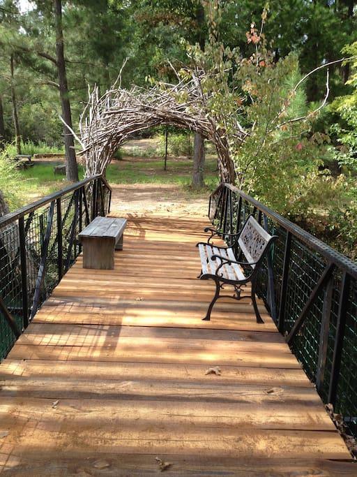 Bridge leading to a nature trail.