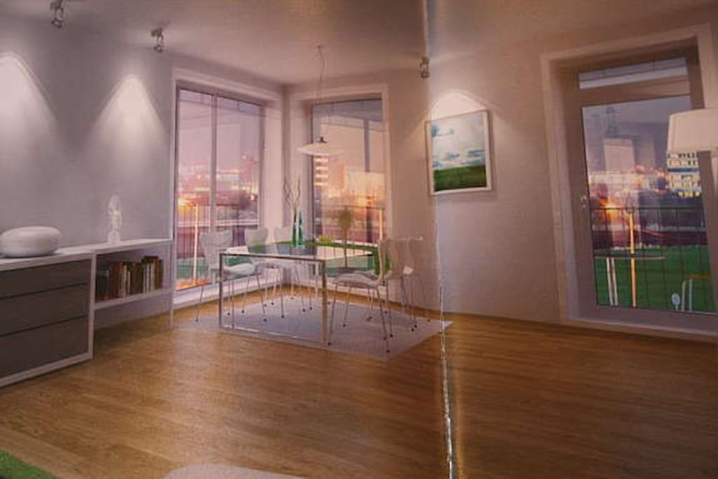 Diningroom with kitchen and balcony and view
