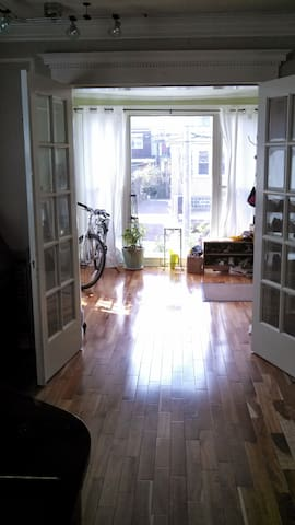 View of sunporch separated by french doors
