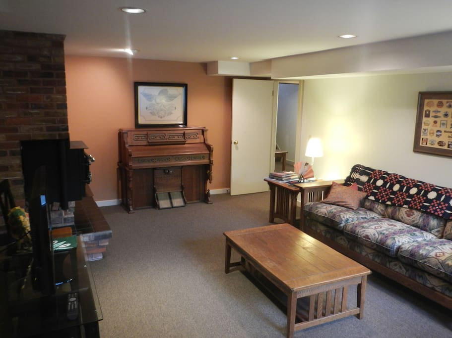 A view of the living room from the entry door.