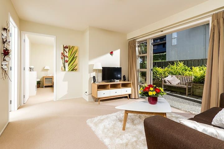 Private, spacious, light and bright living area!