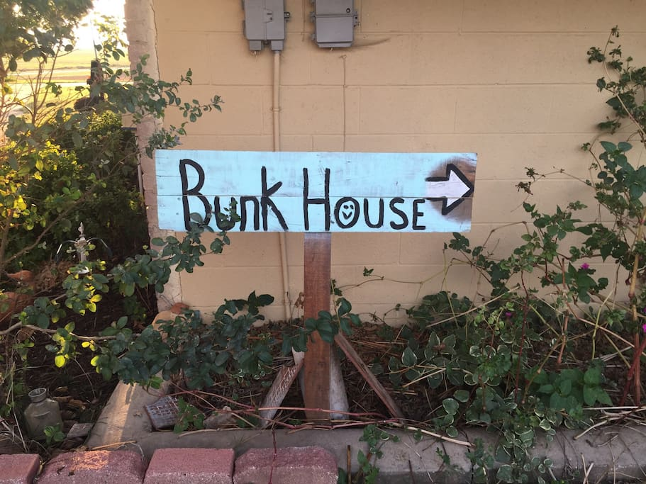 Follow the path to the bunk house.
