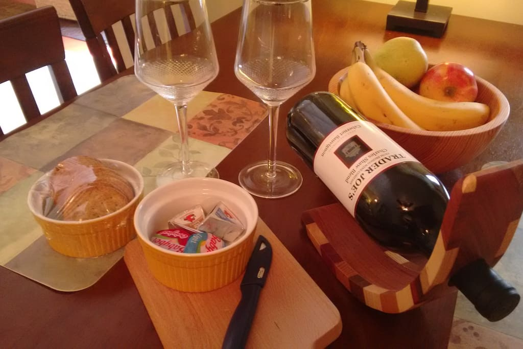 A bottle of wine, cheese and crackers are provided as an evening snack!