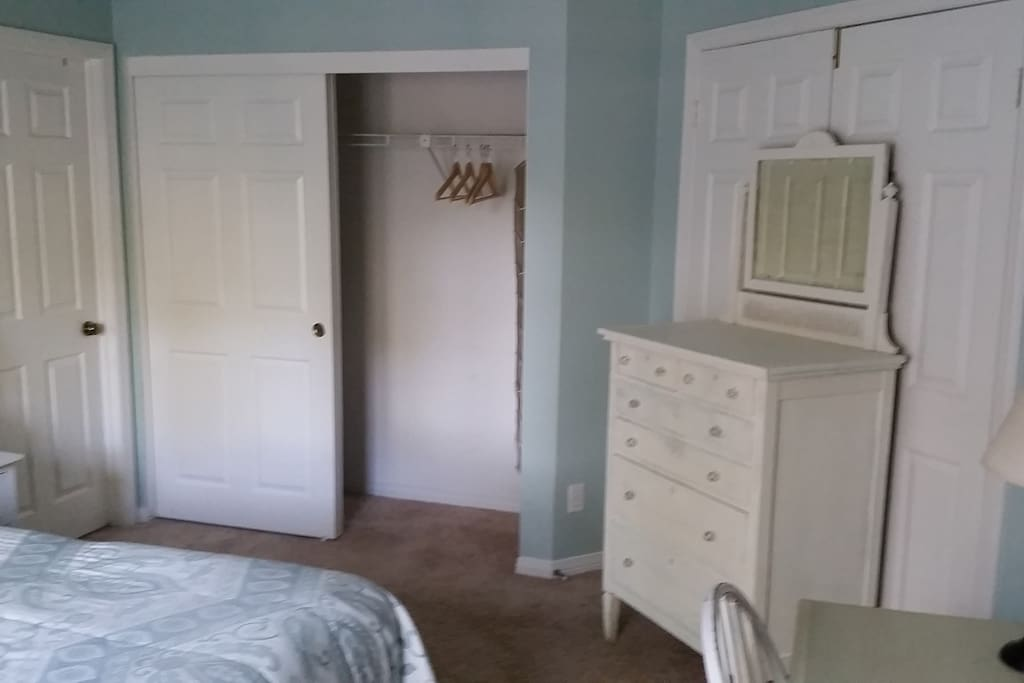 Closet space and dresser for ease of travel