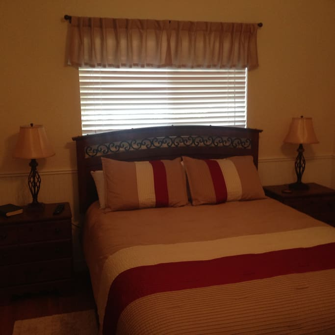 Queen size beautiful bedroom.  Clean comfortable cottage.  Enjoy your visit!