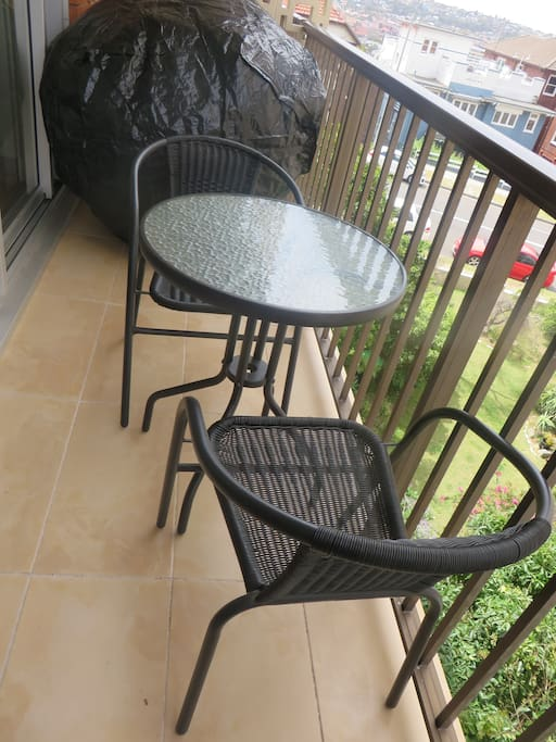 Balcony with new 2 Burner BBQ & seating for 2