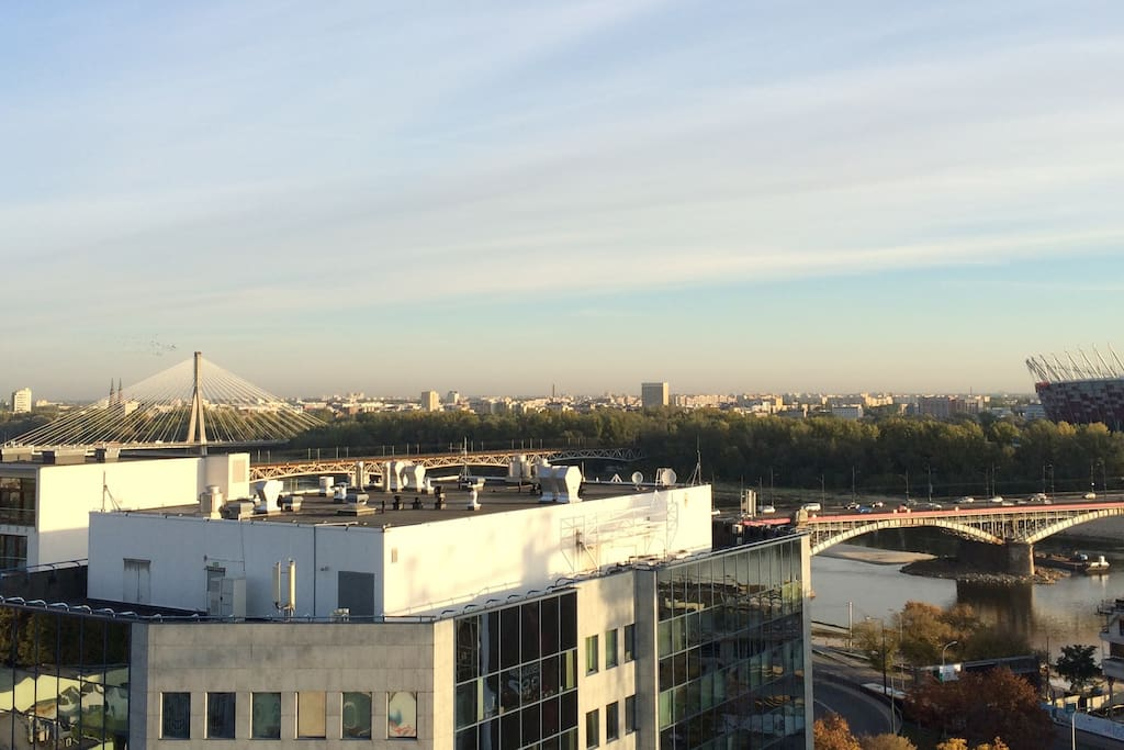 &vista from your window RIGHT = Vistula river and Stadium Narodowy #nofilter