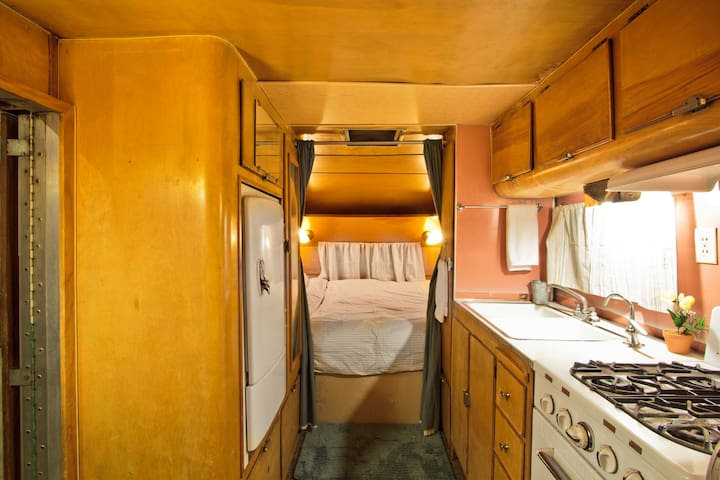 Interior of the trailer looking at the bedroom area.