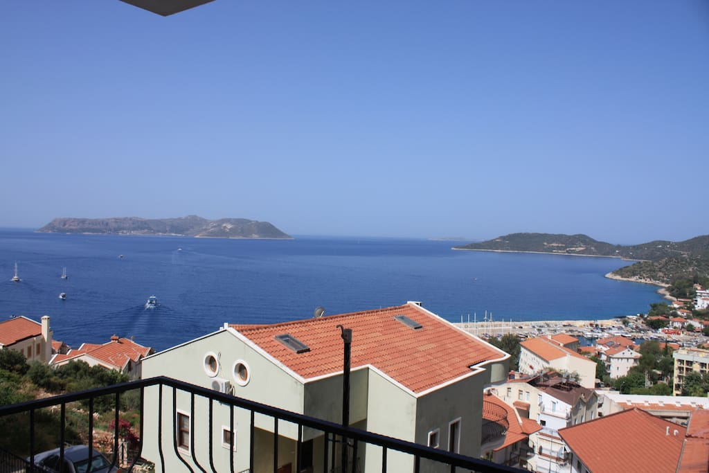 View fra balcony. Greek Island Meis in the background