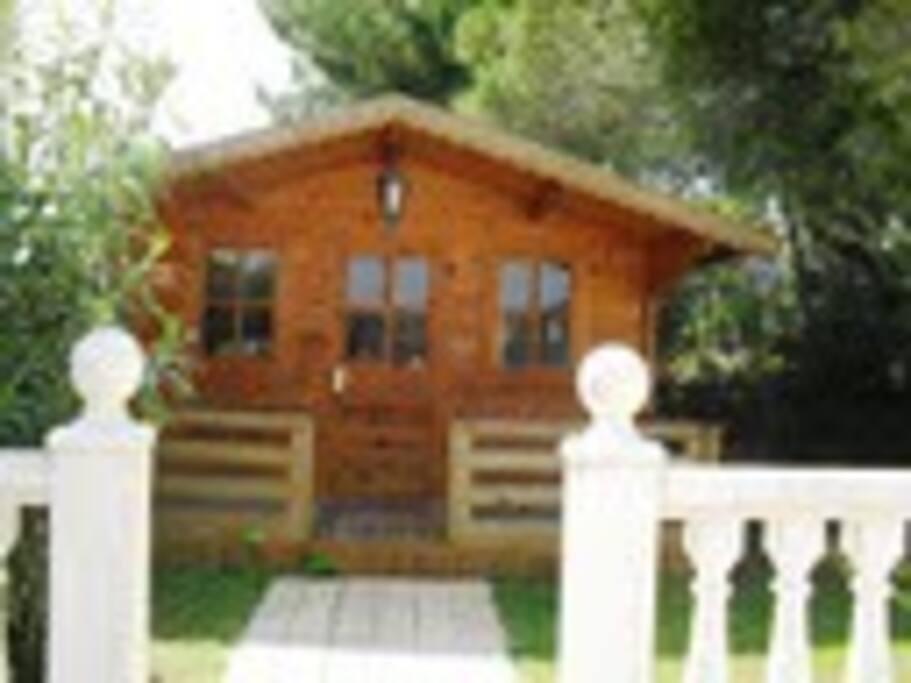 Casa anexa de madera, biblioteca y oficina