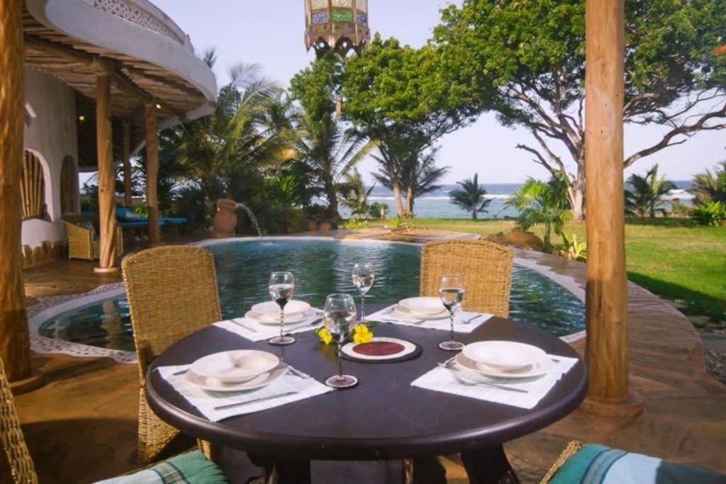 Dining on the verandah