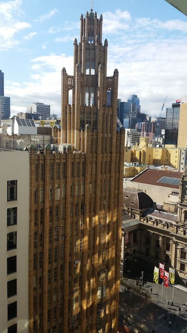 View from the balcony of Collins Street/Swanston Street. Town hall down below