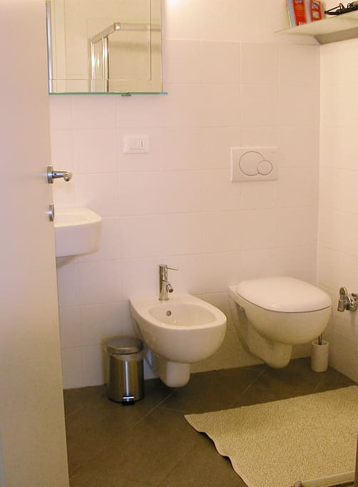bagno annesso alla camera da letto su giardino - private bathroom of the bedroom facing the garden