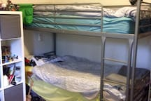 Bedroom 2 with bunk and king single