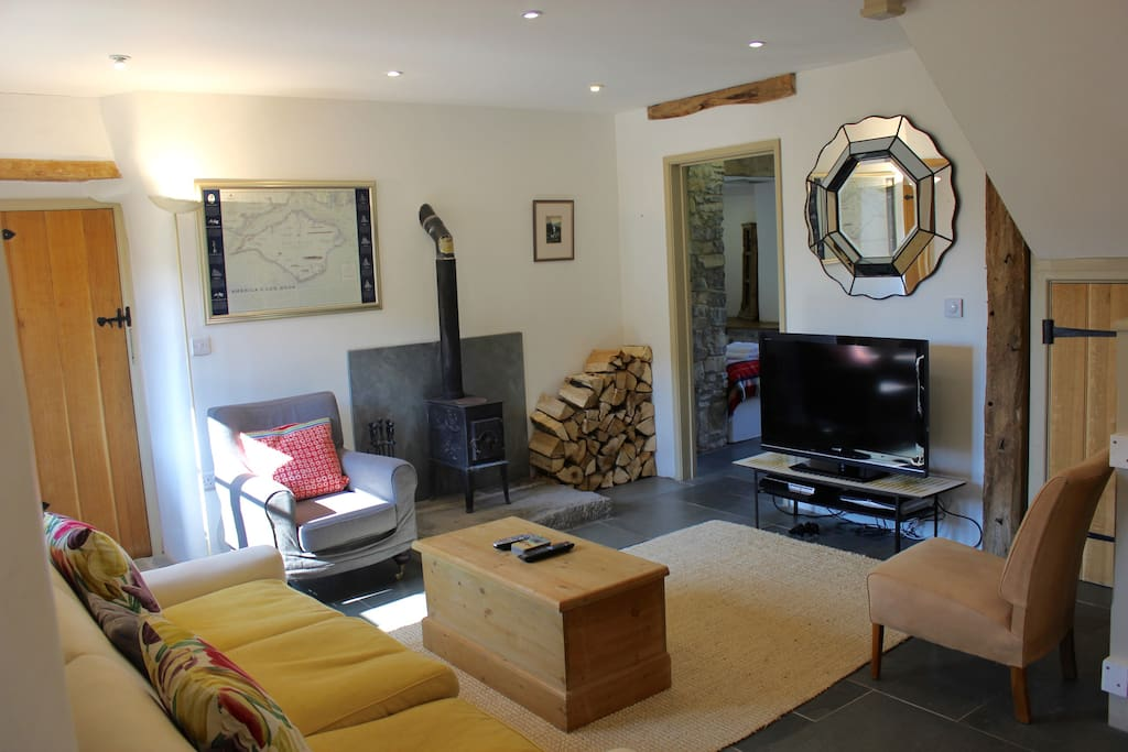 "Sitting Room with Full Sky Plus 42"" HD TV Package & Superfast Broadband. Sony Playstation. Woodburner with Free Logs."