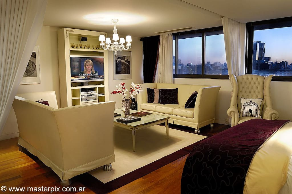 Wake up and fall asleep with the most spectacular breathtaking view of Buenos Aires Skyline and Rio River.