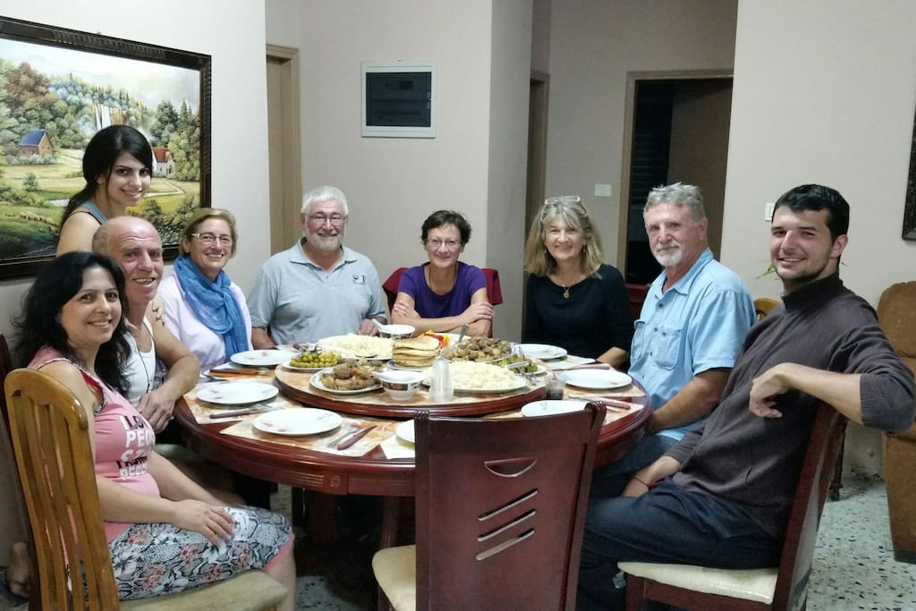 Tonight's dinner.. International table (2 Americans, 3 French, 1 Austrian, & 3 Palestinians).