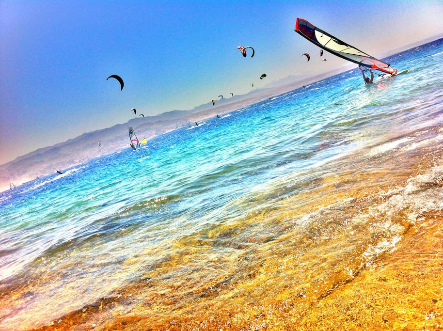 Check out the kitesurfing scene that Eilat is extremely popular for