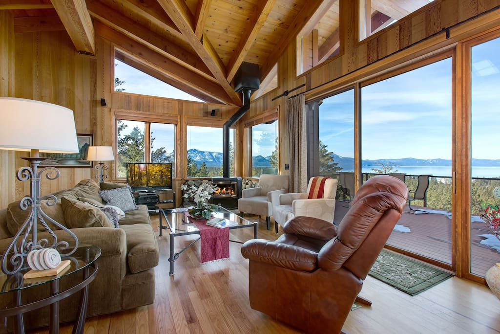 Comfortable living area with unlimited views of Lake Tahoe