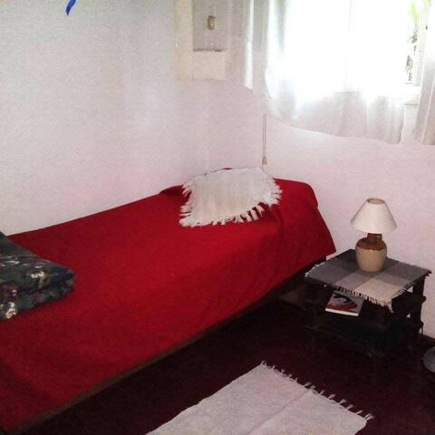 Warm & cozy bedroom with desk.