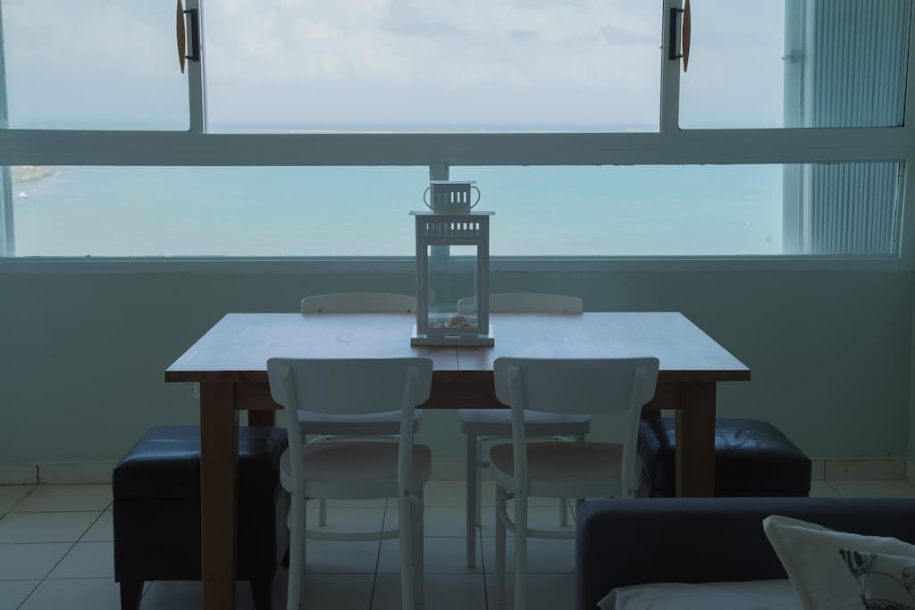 Dining table with ocean front view