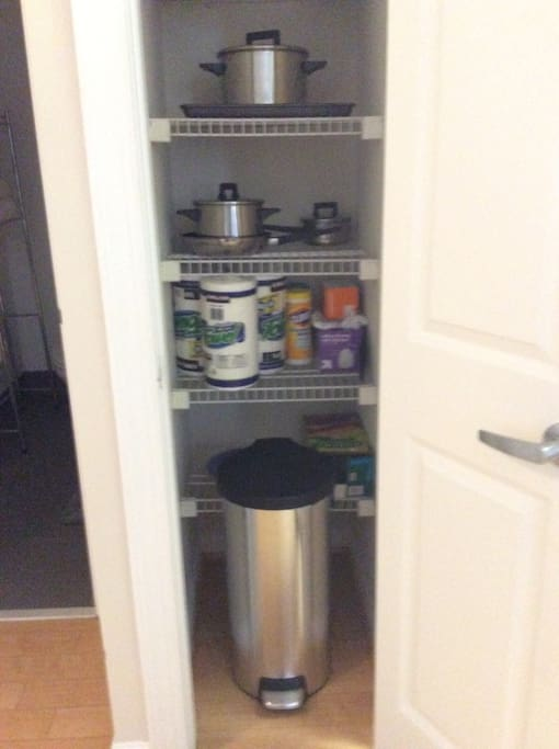 Stocked pantry for cooking.