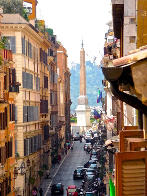 The view from the window to the Spanish Steps