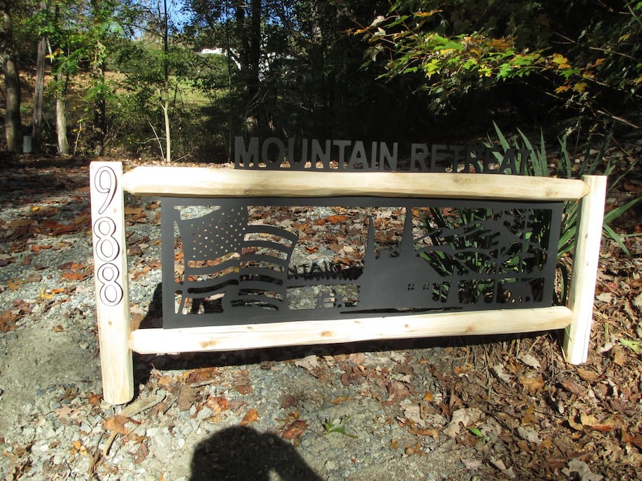 Entrance sign at 988 Rush Branch Rd., the Mountain Retreat located on private 2 acre lot!