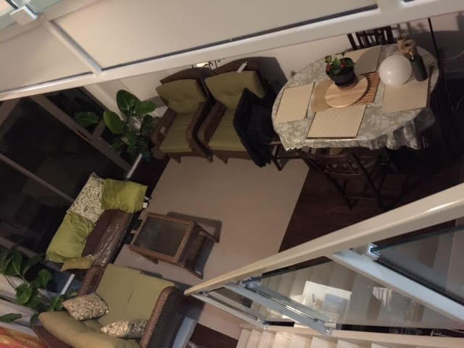 high ceilings loft, bar high dining table; beautiful aesthetics!