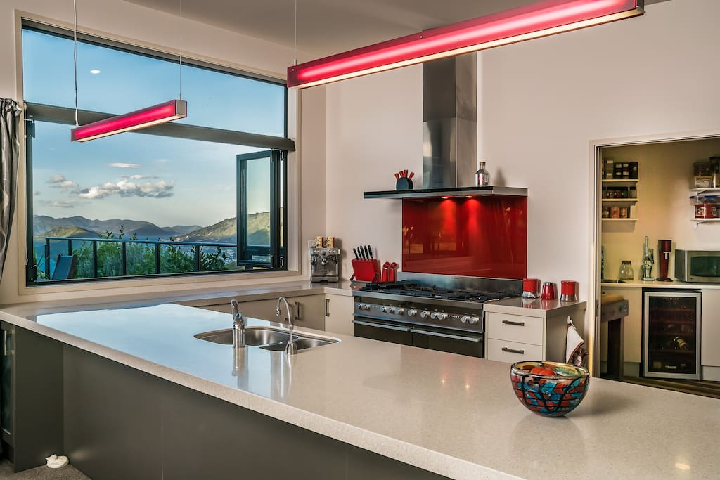 Spacious gourmet kitchen and fantastic scenery.