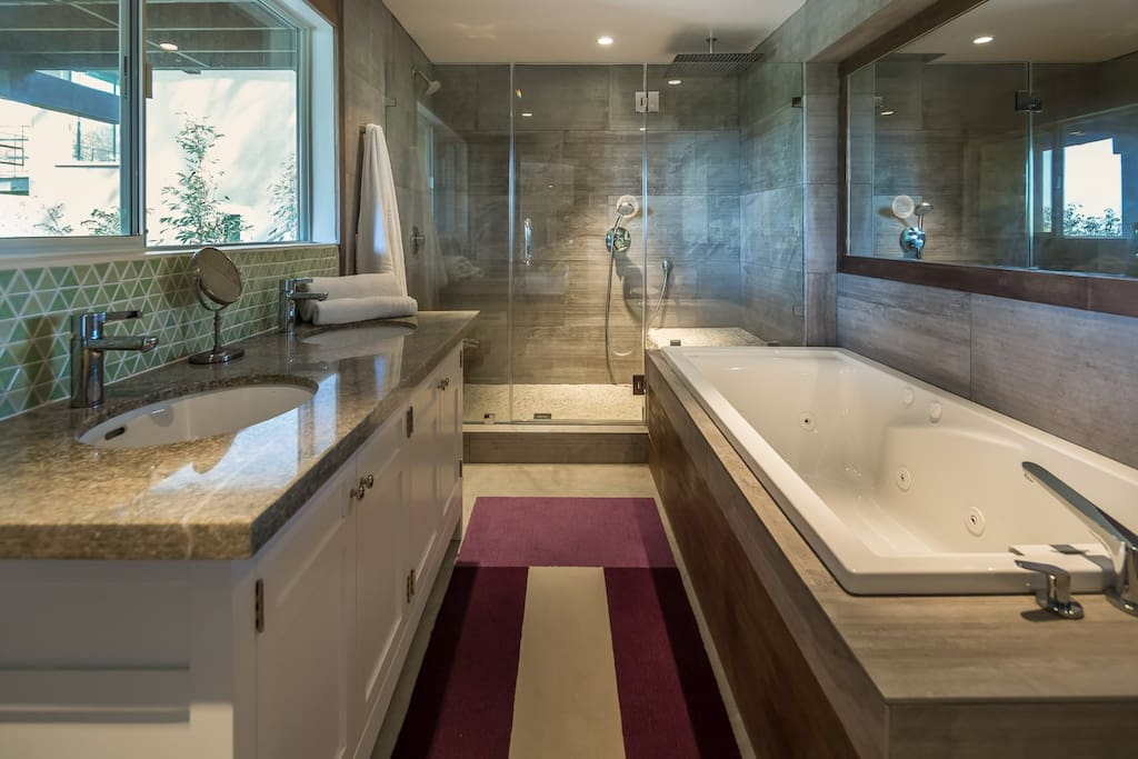 Double sink, large Jacuzzi tub for two and two separate showers.
