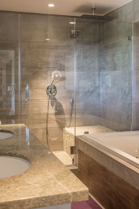 "A 20"" rain shower on a 40"" seat will be the highlight of your stay."