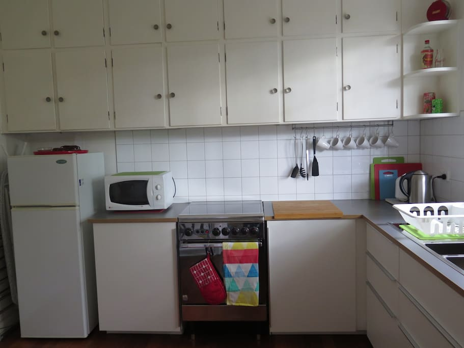 Microwave, gas stove and oven