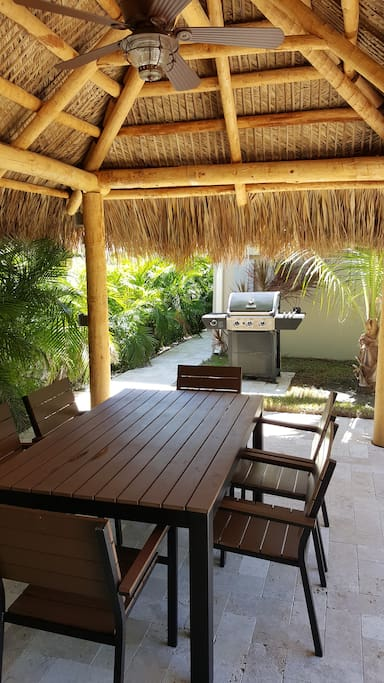 Tiki Hut is spacious, nice, cool and breezy, and provides great shade