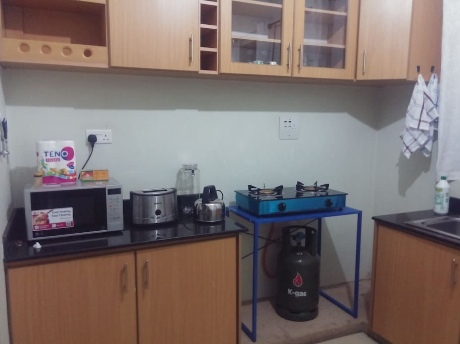 Kitchen showing microwave, toaster, kettle, gas cooker, shelving