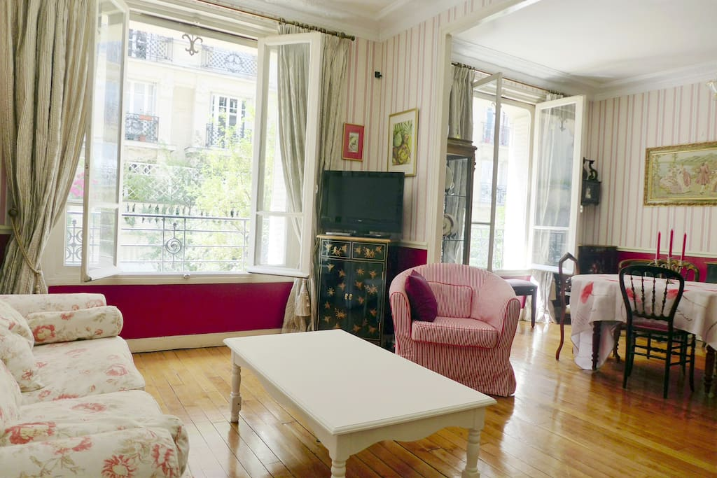 Apt. DUMONT - Montmartre - Living area offers a sofa, armchair & center table