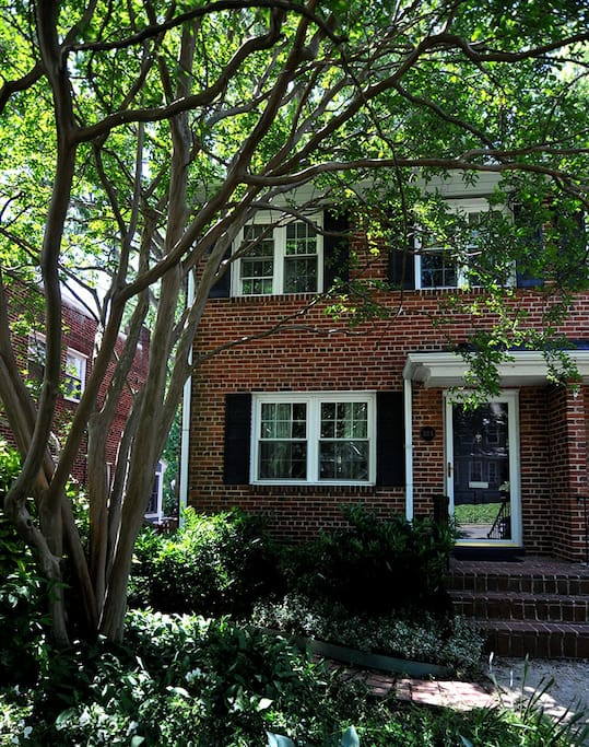 Front of townhouse-lovely crepe myrtle in front