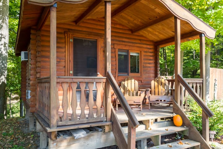 Your cabin at the Spur.  Private porch  and bedroom & bathroom to relax and enjoy.